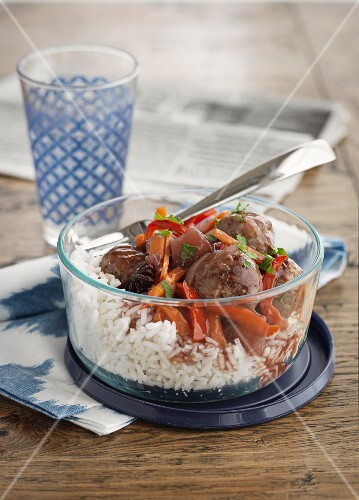 Sweet-and-sour pork on a bed of rice