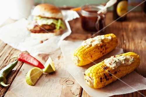Grilled corn cobs with chilli butter and limes (Mexico)