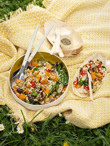 A couscous and vegetable salad for a picnic