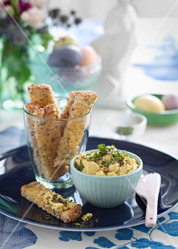 Egg spread and toast soldiers for Easter