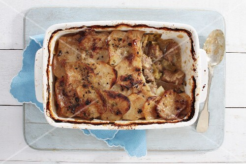 Lamb bake with leek (seen from above)
