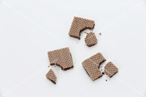 Chocolate wafers with bites taken out