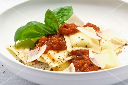 Ravioli with marinara sauce and Parmesan cheese