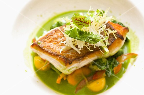 Fried fish tranche on a vegetable salad with a green herb sauce