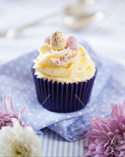 Easter cupcake with mini chocolate Easter eggs