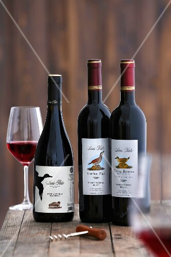 Three bottles of Baga wine from Portugal