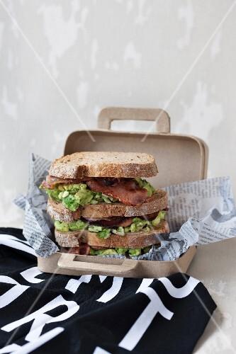 Avocado and bacon sandwiches