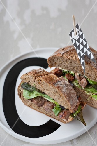 Juicy beef steak sandwiches