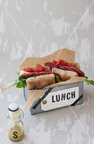 Ciabatta with salami and a mustard dressing