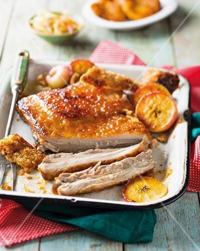 Crispy pork belly with apples