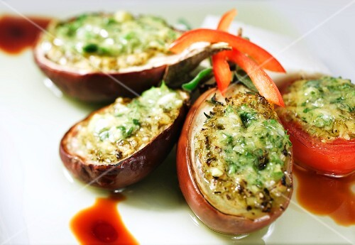 Stuffed aubergines and stuffed tomatoes