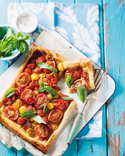 Sliced puff pastry tomato tart