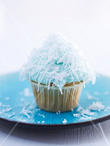 A coconut and Blue Curacao cupcake