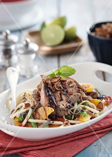 Pasta salad with duck