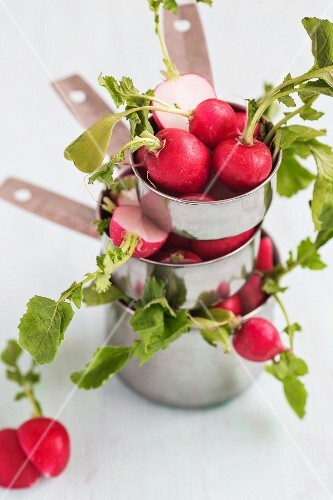 A stack of saucepans with radishes