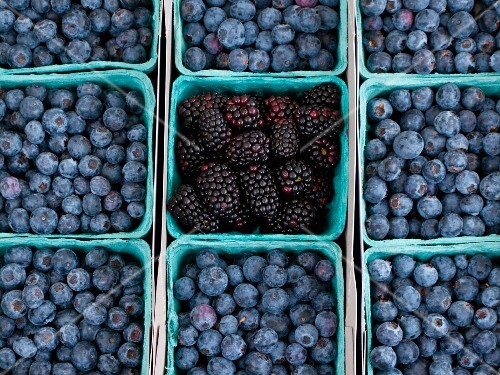 Blueberries and blackberries at a farmers market