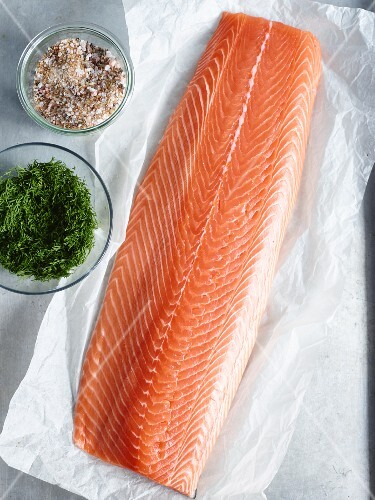 Salmon fillet and marinade ingredients