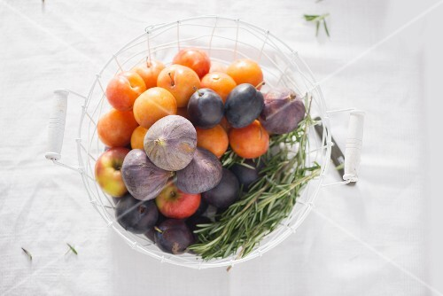 Plums and figs with rosemary in a wire basket