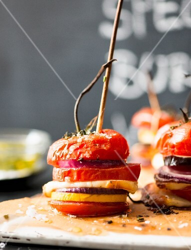 Grilled tomato burgers on sticks