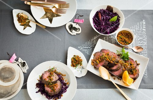 Sauerbraten (traditional German pot roast) with red cabbage for Christmas