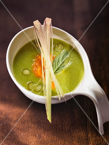 Green asparagus soup with lemongrass and Thai basil