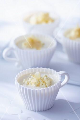 Cream of cauliflower soup in cups