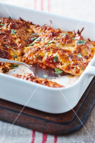 Enchiladas with beef, tomato sauce, cheese and coriander