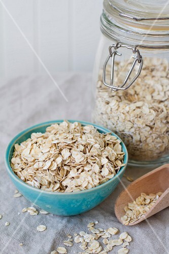 Oat in a bowl and a jar