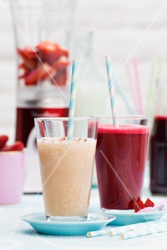 Strawberry and melon smoothies