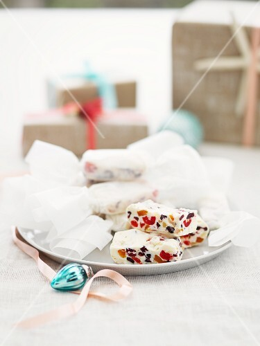 White nougat with candied fruit