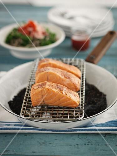 Pan-smoked salmon