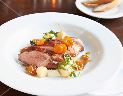 Muscovy duckbreast with turnips, kumquats and lavender jus