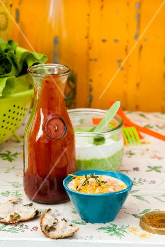 Tomato ketchup with chilli, a lemon and bean paste, and pea and mint yoghurt