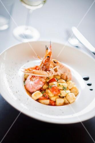Gnocchi with crustaceans