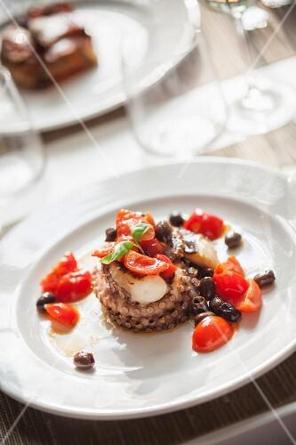 Polpo con pomodorini e olive (octopus was cherry tomatoes and olives, Italy)