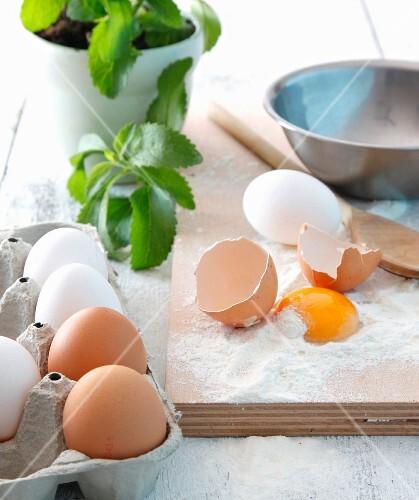 Flour, eggs and stevia
