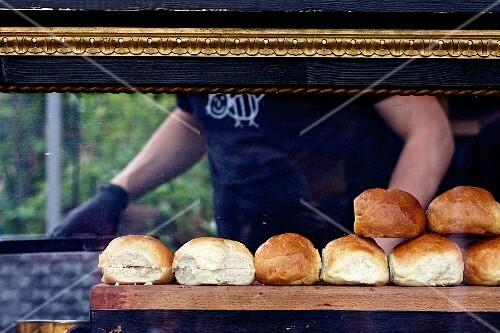Burger buns at a sales stand