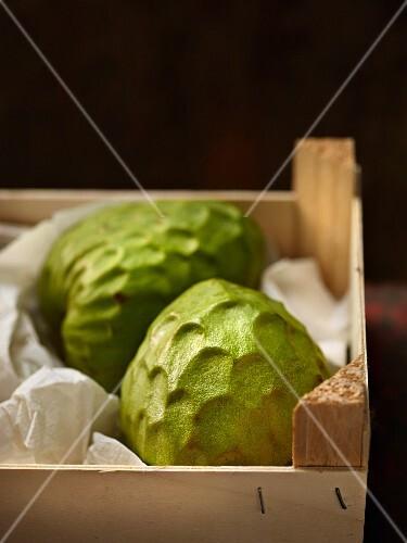 Custard apples in a crate