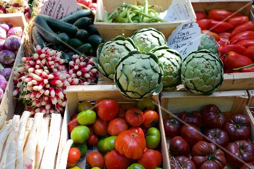 A vegetable stand at a market in France