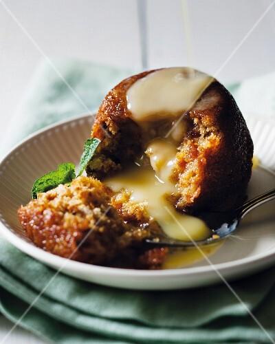 Malva pudding with vanilla sauce