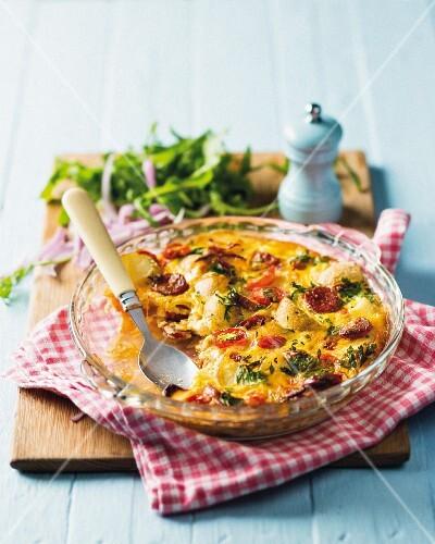 Potato quiche with tomatoes and chorizo