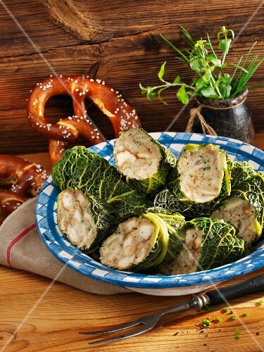 Savoy cabbage roulade with a celeriac and pretzel filling