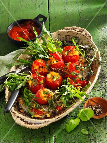 Vine tomatoes filled with couscous