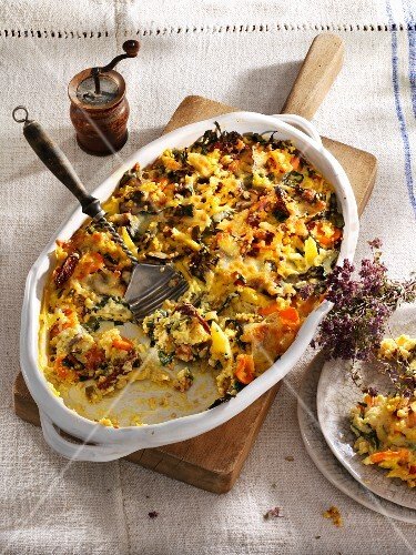 Millet bake with chard, turnips and mozzarella