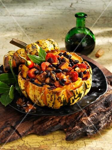 Feijoada baked in a Sweet Dumpling pumpkin (Brazil)