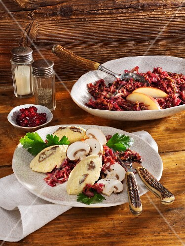 Porcini mushroom polenta with red savoy cabbage