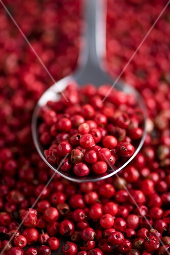 Pink peppercorns on a spoon