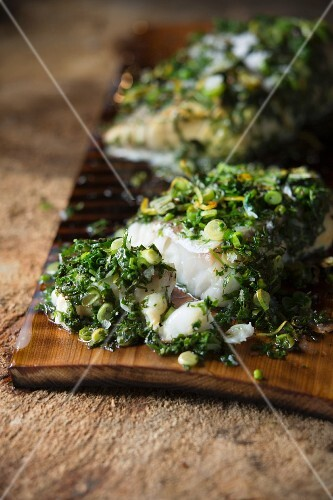 Grilled cod with herb sauce