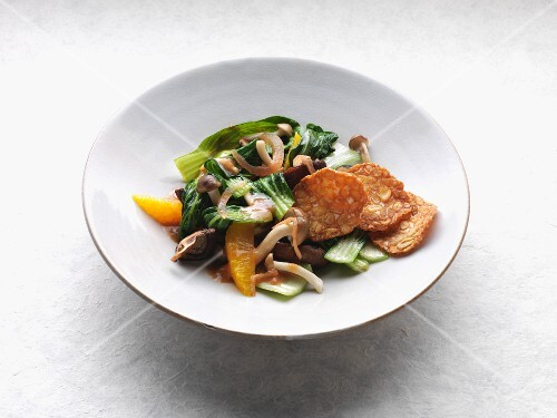 Flash-fried bok choy with enoki mushrooms, shiitake mushrooms and orange sauce