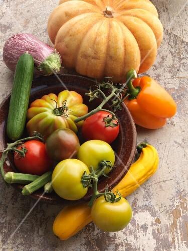 An arrangement of fruiting vegetables